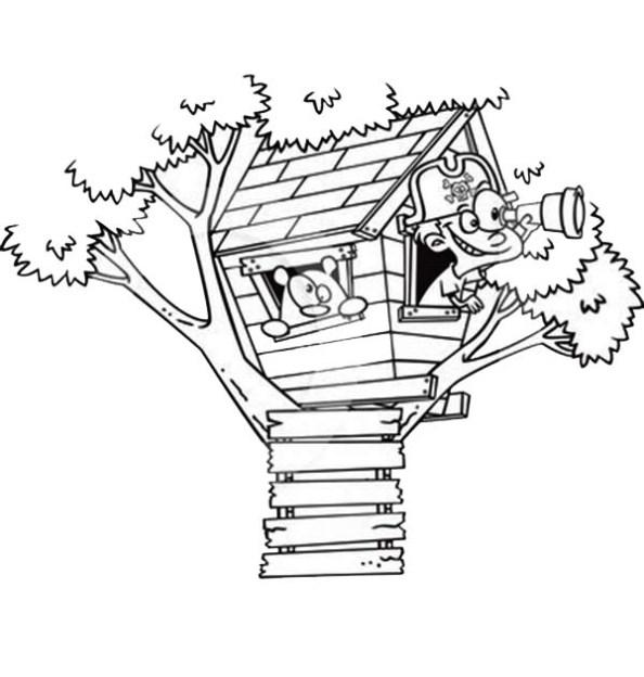 Baumhaus ausmalbilder