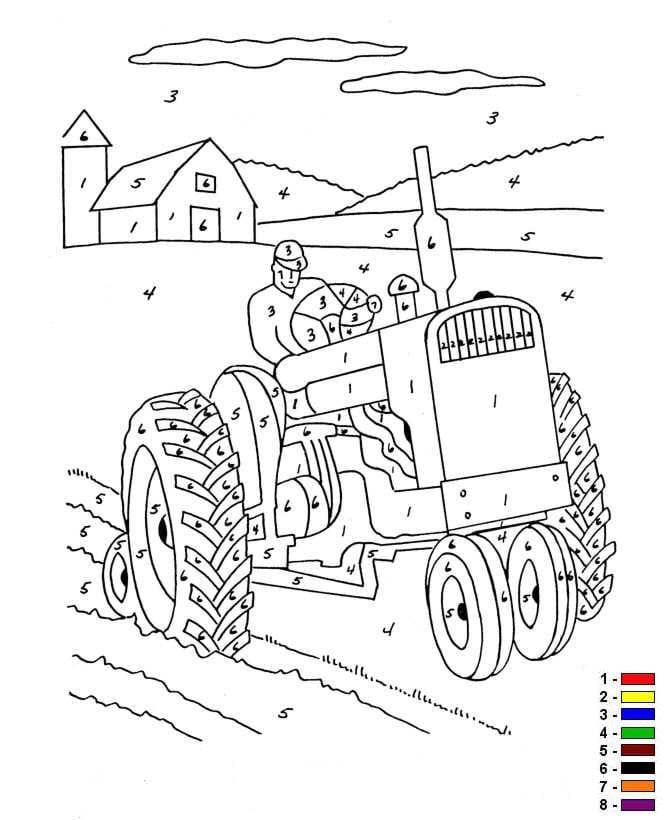 Farben auf der zahl farm ausmalbilder