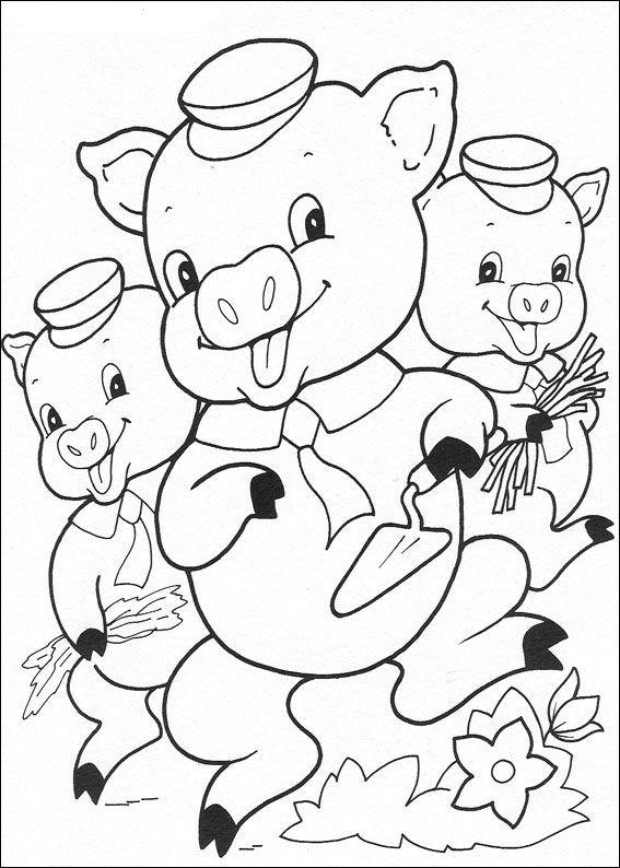 Die drei kleinen schweinchen ausmalbilder