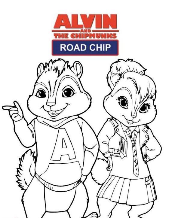 Alvin und die chipmunks road chip ausmalbilder