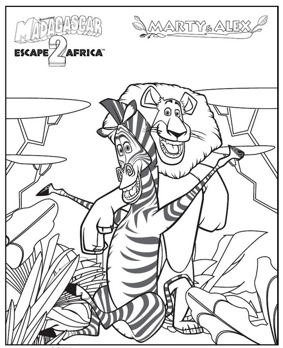 Madagascar 2 ausmalbilder