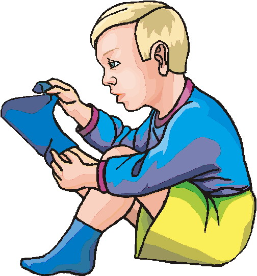 Kid Taking Shoes Off Clipart