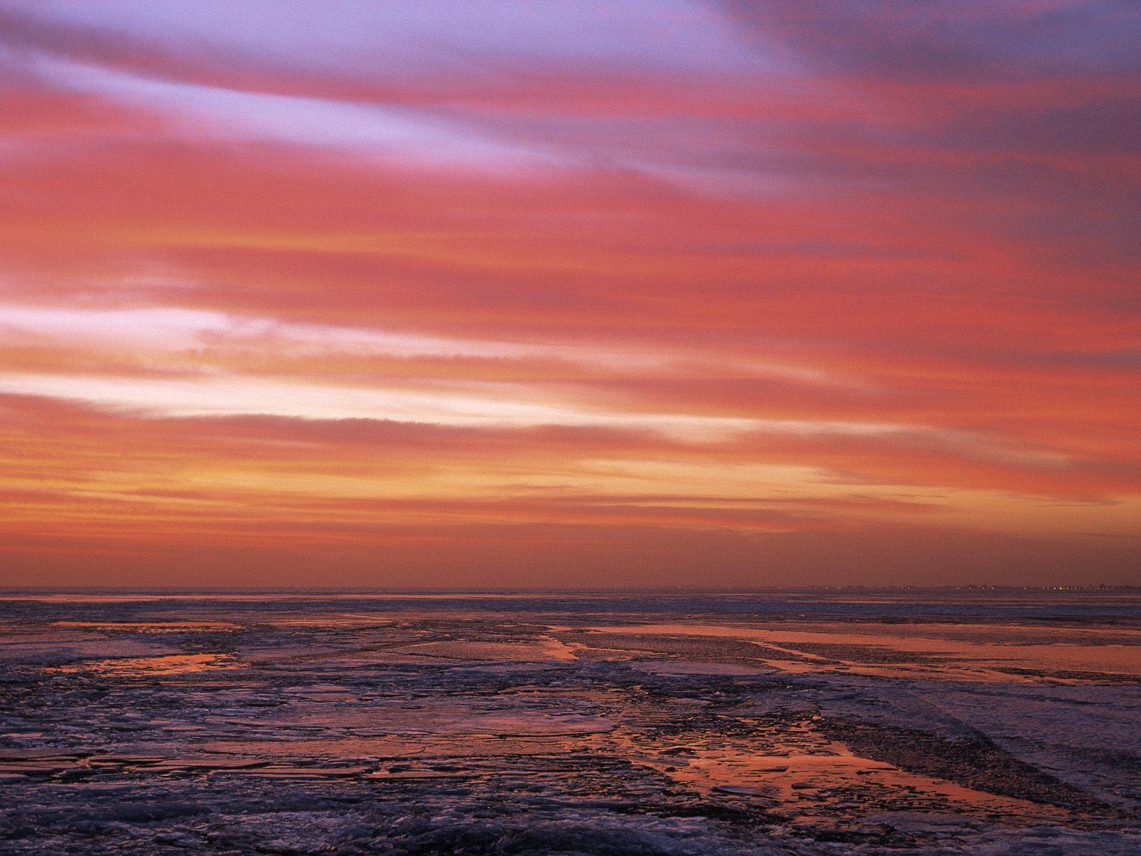 wallpaper  sunset on frozen lake marken the netherlands